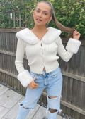 Detachable Faux Fur Trimmed Knitted Long Sleeves Cardigan Top Beige