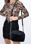 Faux Fur Front Pocket Cross Body Bag Black