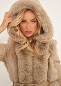 Faux Fur Hooded Panelled Pu Leather Longline Jacket Coat Beige