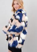 Shaggy Faux Fur Multicoloured Jacket Coat Multi