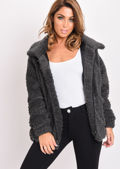 Faux Fur Oversized Zip Up Teddy Jacket Charcoal Grey