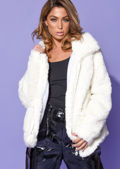 Faux Fur Oversized Zip Up Teddy Jacket White