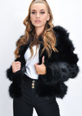 Faux Fur Panel Crop Jacket Coat Black