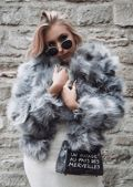 Faux Fur Panel Crop Jacket Coat Dark Grey