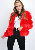 Faux Fur Panel Crop Jacket Coat Red