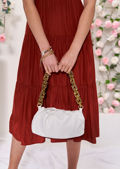 Faux Leather Chunky Shoulder Strap Chained Clutch Bag White