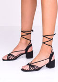 Faux Suede Lace Up Block Heel Sandals Black