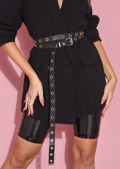 Faux Leather Multiway Stud Eyelet Belt Black