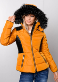Faux Leather Panel Padded Puffer Jacket Coat Mustard Yellow