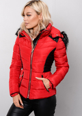 Faux Leather Panel Padded Puffer Jacket Coat Red