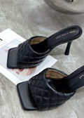 Square Toe Quilted Mule Heels Black