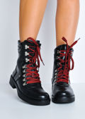 Faux Leather Red Lace Up Combat Ankle Boots Black