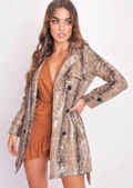 Faux Leather Snake Skin Print Trench Coat Beige