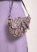 Faux Leather Snakeskin Print Saddle Shoulder Bag Pink