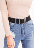 Faux Leather Square Buckle Belt Black