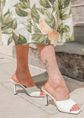 Faux Leather Square Toe Mule Heels White