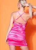 Faux Satin Slinky Ruched Mini Dress Fuchsia Pink