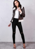 Faux Shearling Aviator Jacket with Pocket Details Brown