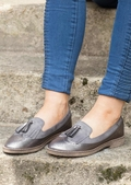 Faux Suede and Leather Tassel Brogue Loafers Grey