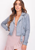 Faux Suede Crop Biker Jacket Grey