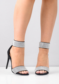 Diamante Embellished Ankle Strap Heels Black