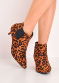 Leopard Print Kitten Low Heel Pointed Chelsea Ankle Boots Multi