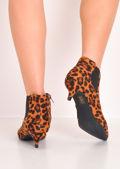 Leopard Print Kitten Low Heel Pointed Chelsea Ankle Boots Multi