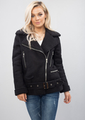 Faux Suede Lined Aviator Jacket Black