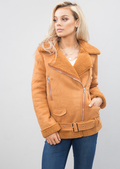 Faux Suede Lined Aviator Jacket Camel