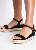 Faux Suede Platform Braided Cork Wedge Espadrille Sandals Black
