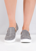 Faux Suede Snakeskin Diamante Slip on Trainers Grey