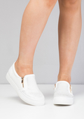 Faux Suede Snakeskin Diamante Slip on Trainers White