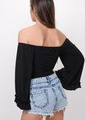 Flare Sleeve Bardot Bodysuit Black