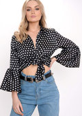 Flare Sleeve Polka Dot Shirt Black
