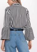 Flare Sleeve Stripe Shirt White
