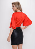 Flare Sleeve Tie Front Crop Top Red