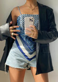 Paisley Bandana Style Scarf Camisole Crop Top Blue