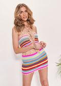 Floral Crocheted Stripe Patterned Bikini Mini Skirt Multi