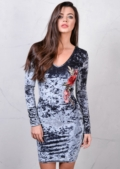 Floral Embroidered Crushed Velvet Bodycon Mini Dress Grey