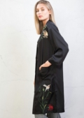 Floral Embroidered Kimono Top Black
