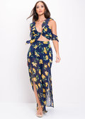 Floral Frill Crop Top and Trousers Co Ord Navy Blue
