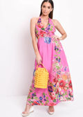 Floral Halterneck Maxi Dress Hot Pink