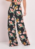 Floral High Waisted Wide Leg Trousers Black