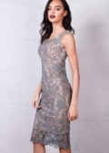 Floral Patterned Lace Fitted Bodycon Midi Dress Pink Grey
