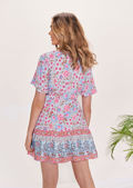 Button Front Floral Printed Ruched Tie Waisted Mini Dress Multi
