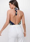 Floral Plunge Bodysuit Navy Blue