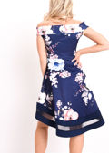 Floral Print Bardot Dress Dip Hem Mesh Panel Navy Blue