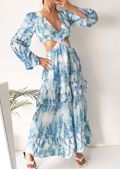 Floral Print Puff Sleeve Side Cut Out Frill Tiered Maxi Dress Blue