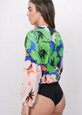 Floral Print Satin Plunge Bodysuit Green