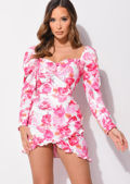 Floral Puff Long Sleeve Wrap Front Frill Mini Dress Pink